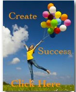 woman holding ballons create success